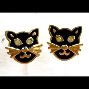 Black CAT Earrings AVON Vintage